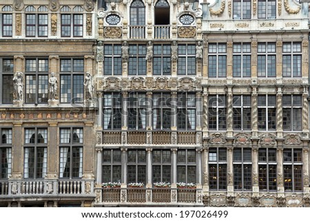 Guild houses on the Grand Place, Brussels downtown - stock photo