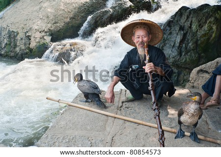 GUILIN, CHINA - OCTOBER 22: Unidentified elderly Chinese fisherman sitting and resting with his cormorant birds October 22, 2008, Guilin, China. The cormorant birds are used as a tool to fish.