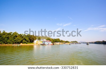 GUILIN, GUANGXI/CHINA-OCT 12: Lijiang river scene on Oct 12,2015 in Guilin, Guangxi, China. Lijiang scenic area is the world's largest and most beautiful scenery of karst landscape recreational area.