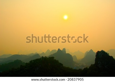 Guilin Sunset - stock photo