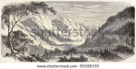 Guill valley old view, French Alps. Created by De Bar after Muston, published on L'Illustration, Journal Universel, Paris, 1858 - stock photo