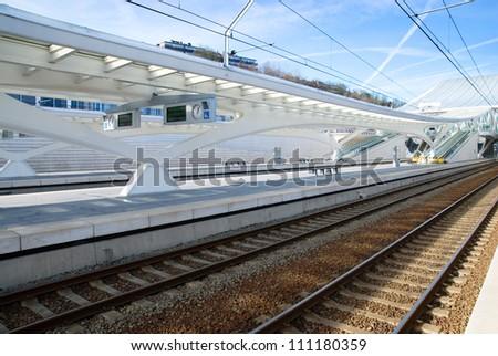 Guillemins train station in Liege, Belgium - stock photo