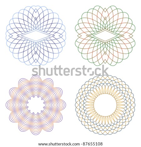 Guilloche decorative elements on a white background. EPS version is available as ID 86341618. - stock photo
