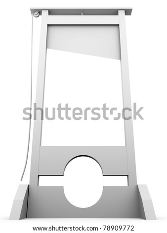 Guillotine in white. Concept of punishment. 3d render - stock photo