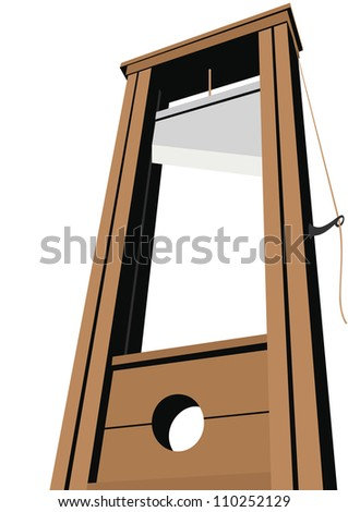 Guillotine with a raised knife. Tool to perform executions. The illustration on a white background. - stock photo