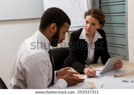 Guilty manager.Business training. Office life. - stock photo