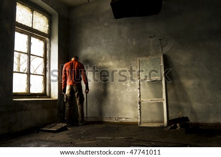 guilty warrior in lost room - stock photo
