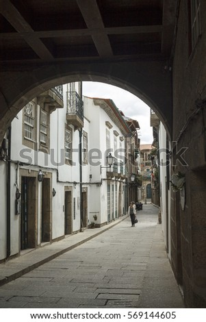 GUIMARAES, BRAGA / PORTUGAL - SEPTEMBER 14, 2016: The downtown ot the medieval city of Guimaraes