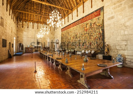 GUIMARAES, PORTUGAL - JULY 11: Inside the Palace of the Duques of Braganza on July 11, 2014 in Guimaraes, Portugal - stock photo