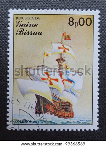 GUINEA BISSAU - CIRCA 1985: Stamp printed in GUINEA BISSAU shows a sailing ship Santa Maria, circa 1985