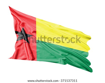 Guinea-Bissau flag waving  on white  background.