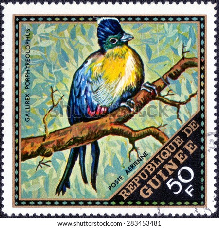 """GUINEA - CIRCA 1975: A stamp printed in Guinea shows a series of images """"Birds"""", circa 1975  - stock photo"""