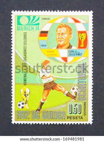 GUINEA EQUATORIAL - CIRCA 1975: a postage stamp printed in Guinea Equatorial showing an image of Helmut Rahn soccer player, circa 1975.