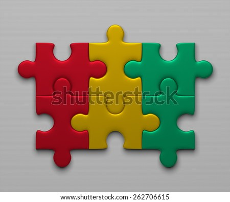 Guinea flag assembled of puzzle pieces on gray background - stock photo