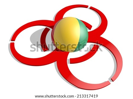 guinea flag textured sphere in the center of biohazard alert 3d red sign. suitable for ebola and others pandemic cases - stock photo