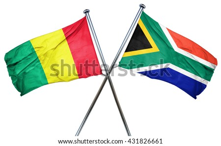 Guinea flag with South Africa flag, 3D rendering