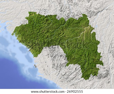 Guinea. Shaded relief map. Surrounding territory greyed out. Colored according to vegetation. Includes clip path for the state area.
