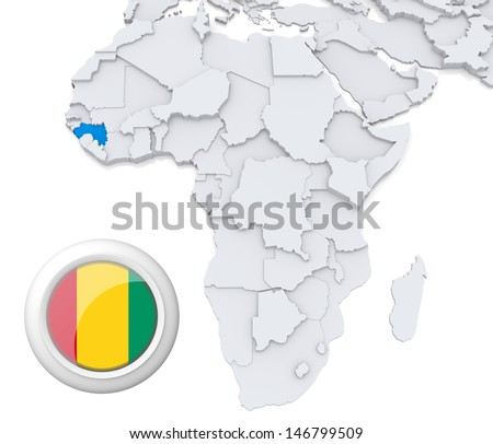Guinea with national flag - stock photo