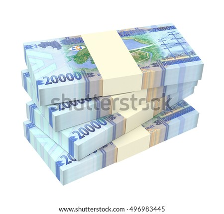 Guinean francs bills isolated on white background. 3D illustration.