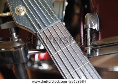 Guitar. A photo close up in musical studio. Selective focus