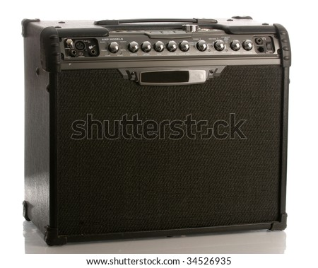 guitar amp or amplifier with reflection on white background - stock photo