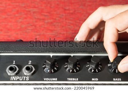 Guitar amplifier. - stock photo