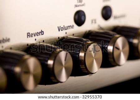 Guitar amplifier close up shot - stock photo