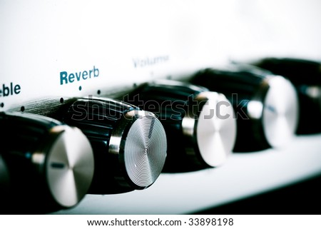 Guitar amplifier close up shot - stock photo