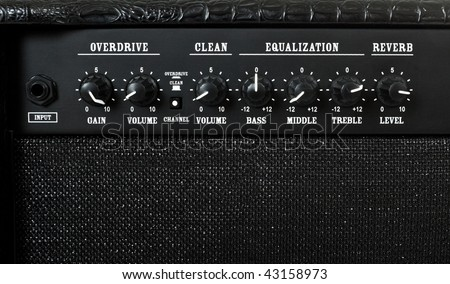 guitar amplifier control panel closeup - stock photo