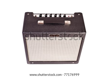 guitar amplifier (isolated on white) - stock photo