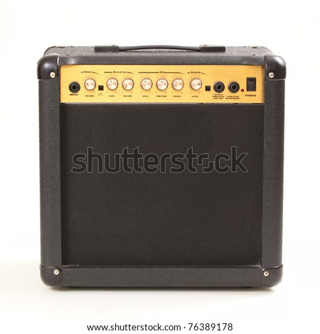 Guitar amplifier isolated on white background - stock photo