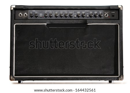 Guitar amplifier on white background - stock photo