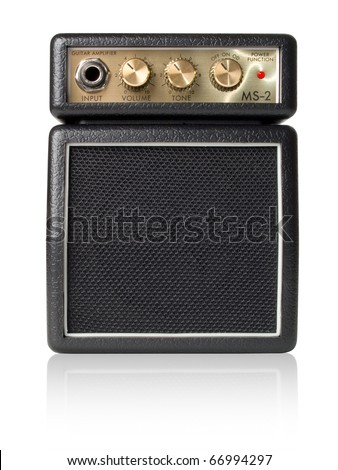 Guitar amplifier on white background (isolated with path). - stock photo