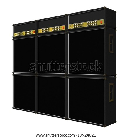 Guitar amplifier stacks isolated on a white background - stock photo
