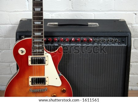 Guitar and Amp - stock photo