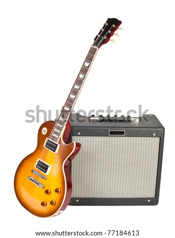 guitar and amplifier (isolated on white) - stock photo