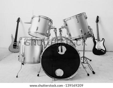 Guitar and drum kit - stock photo