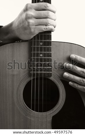 guitar and hand - stock photo