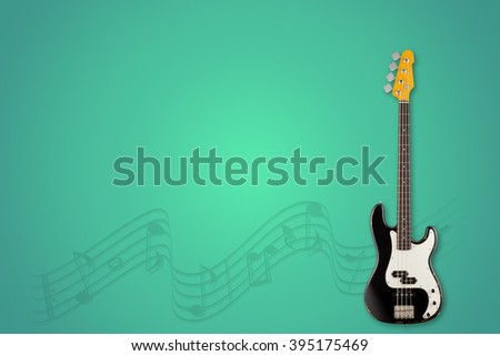 Guitar and notes on aurora background - stock photo