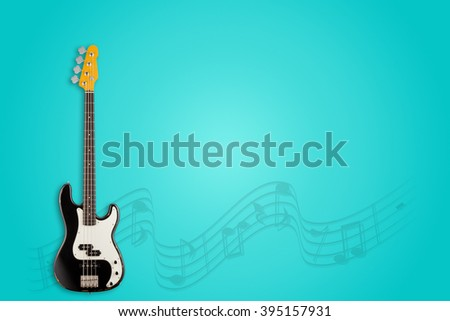 Guitar and notes on azure background - stock photo