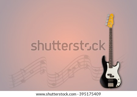 Guitar and notes on morning background - stock photo