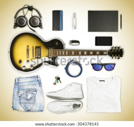 guitar and wear and accessories  - stock photo