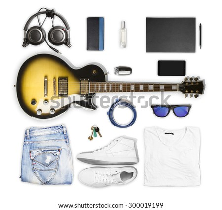 guitar and wear and accessories on white background - stock photo