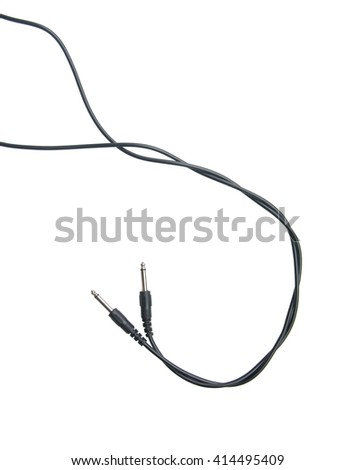 Guitar audio jack with black cable isolated on white background