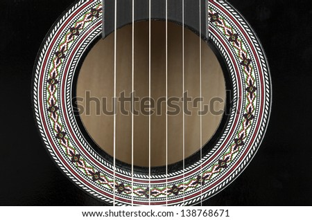 Guitar Body Sound Hole - stock photo