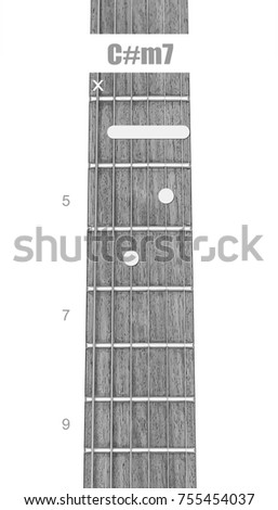 Guitar Chord Cm 7 Black White Isolate Stock Photo Royalty Free