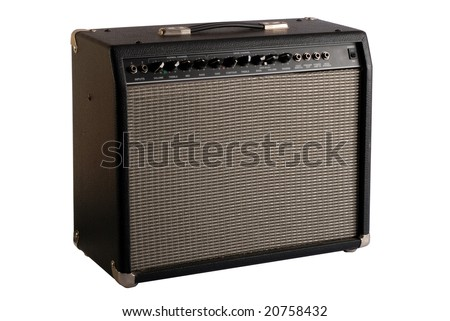 guitar combo amp with clipping path - stock photo