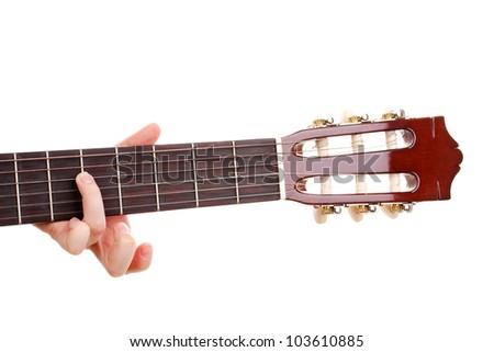 Guitar fretboard isolated on white - stock photo