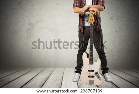 Guitar, guitarist, guy. - stock photo