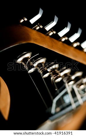 guitar head and neck close-up - stock photo